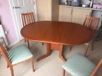 Wood dinning table and 4 x chairs
