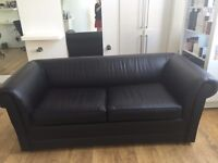 2 Seater Sofa Bed - Sofabed - Leather Faux - Black