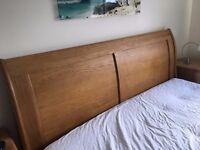 Solid oak superking size sleigh bed frame