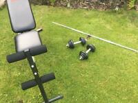 Cast Iron York Dumbells/Bar & Weight Lifting Bench