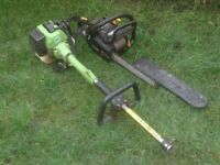 PETROL CHAINSAW £20 NEEDS REPAIR STRIMMER ENGINE £10 NEEDS TOP