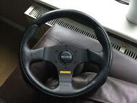 280mm momo team steering wheel and BMW mini boss