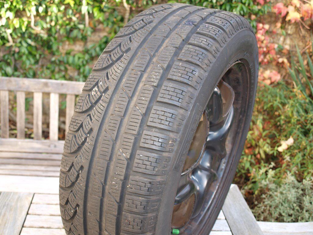 Two Pirelli Sottozero winter/snow tyres 205/55 R16 on 16 inch 5 stud steel rims