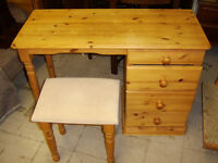 Pine desk with stool