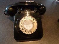 Phone Old Telephone Black 1970s with Lead Untested Good Condition Few Scratches