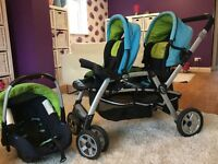 TwinTwo Jane double buggy with attaching Jane rebel pro car seat.