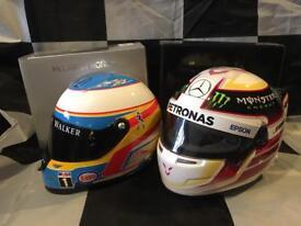 Lewis Hamilton & Fernando Alonso 2015 1:2 Scale mini f1 helmet McLaren & Mercedes
