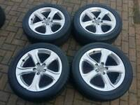 GENUINE AUDI 17 INCH ALLOY WHEELS 5X112 VW A3 A4 A5 A6 GOLF PASSAT SUPERB TYRES