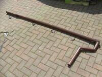 Brown Guttering for 8ft Pent Roof Shed MiniFlo Floplast Gutter Brackets Outlet Stopend