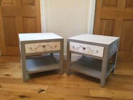 Two matching Side Tables with Draws and Shelf Under