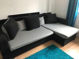Sofa bed double , black grey ,
