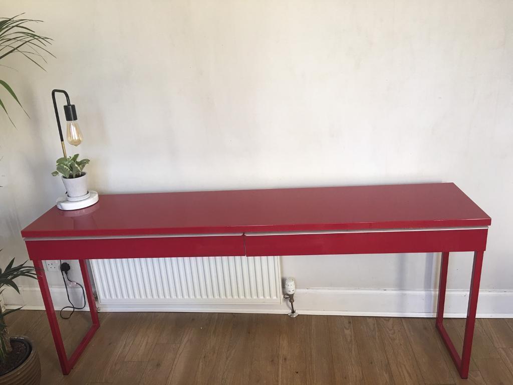 Ikea Besta Burs Red Desk Console Table In Bruntsfield