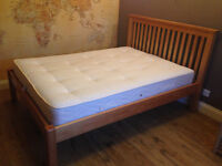 Solid wood double bed frame (plus mattress)