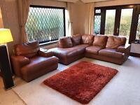 Tan Brown Leather Corner Sofa + Armchair
