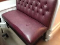 1 small sofa,leather,dark red color,good condition