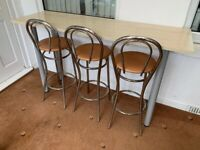 Breakfast Bar Table with 3x Stools Chairs Desk Premium Quality