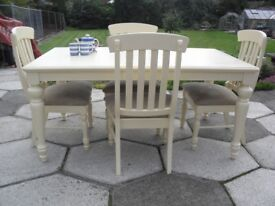Shabby Chic Solid Pine Extending All Painted Table and 4 Chairs In Farrow & Ball Cream No 67