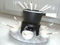 FONDUE SET - 6 PIECE SET INCLUDING MARBLE LAZY SUSAN, DIP BOWLS AND FORKS
