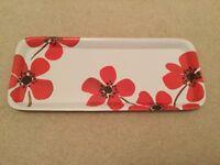 Dunelm red poppy flower range small melamine scatter tray