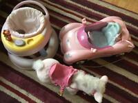 Baby born dolls car and walking horse plus baby walker