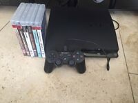 Sony PlayStation 3 Slim Launch Edition 160GB Charcoal Black Console with 6 games