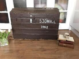 LARGE VINTAGE ENGLISH TRUNK CHEST 1920s FREE DELIVERY STORAGE BOX 🇬🇧