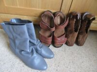 Lilley & Skinner grey leather boots (never worn) Two pairs sandals (worn once)