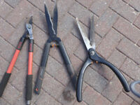 A selection of 6 shears and loppers