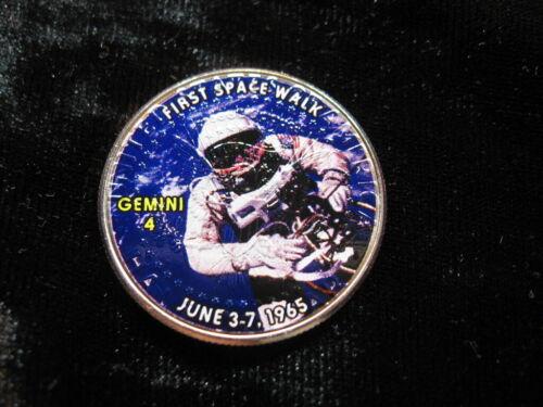 Colorized Novelty coin Kennedy half dollar NASA Gemini 4 First Space Walk (369)