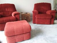 Two chenille armchairs with large footstool