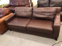 3 seater modern chocolate brown leather sofa