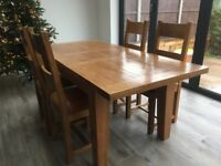 Solid reclaimed oak table and chairs