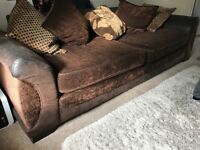 DFS CHOCOLATE 4 SEATER SOFA NEWLY UPHOLSTERED