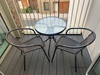 Black & Brown Glass Round Table and Chairs Patio Balcony Indoor/Outdoor - Set of Two 2