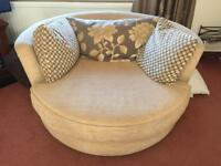 Sofa , chair and circular swivel chair