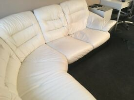White Leather Corner Suite, black base, in great condition