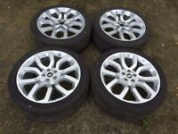 """NEW 22"""" GENUINE RANGE ROVER SPORT AUTOBIOGRAPHY SILVER ALLOY WHEELS AND CONTINENTAL TYRES"""