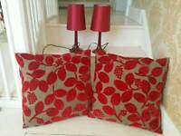 Pair of lamps and plush large cushions