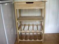 Pine Stand Wine Rack with Shelf and Drawer