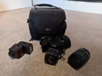Canon EOS 400D Digital SLR, DSLR (with case, 2 lenses, flash, and 1gb memory card)