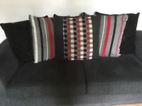 2 x 3 seater scatter back sofa