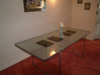 MODERN GLASS TOPPED DINING TABLE WITH GREY METAL FRAME