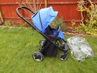 OYSTER PUSH CHAIR IN BLUE EXCELLENT CONDITION WITH GENUINE OYSTER RAIN COVER