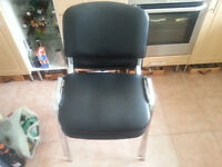 2 office reception chairs in black pvc