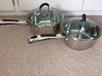 Set of 2 'Hell's Kitchen' stainless steel saucepans