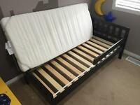 Toddler bed, mattress, mattress pad, two bed sheets