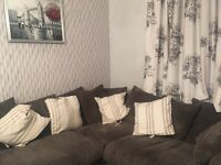 Cosy corner sofa in grey cord nw6 -inc 4 John Lewis cushions