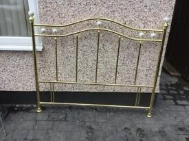 5ft brass and porcelain headboard