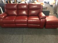 NEW - EX DISPLAY LAZYBOY WARREN LEATHER 3 SEATER RECLINER SOFA SOFAS + FOOTSTOOL 75% Off RRP