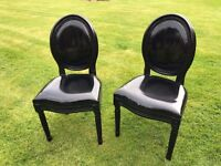 Pair of Shabby Chic black high gloss PVC dining or bedroom chairs.